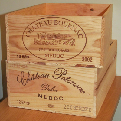 Wine crates x 2 bois rustique for Wine crate furniture