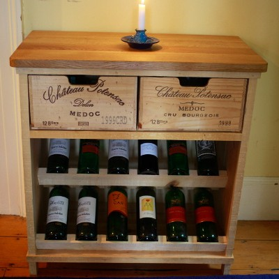 Rustic wine rack from the front