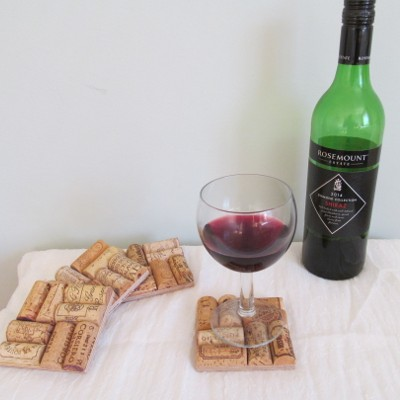 Wine bottle and wine cork coasters